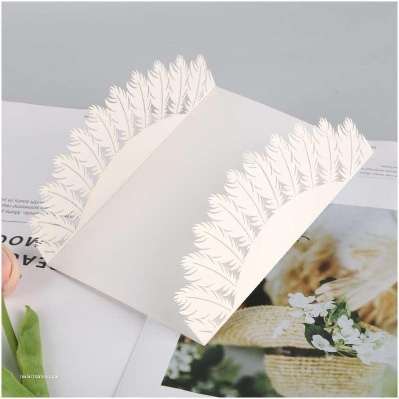 White Wedding Invitation Kit Romantic White Floral Lace Laser Cut Wedding Invitation