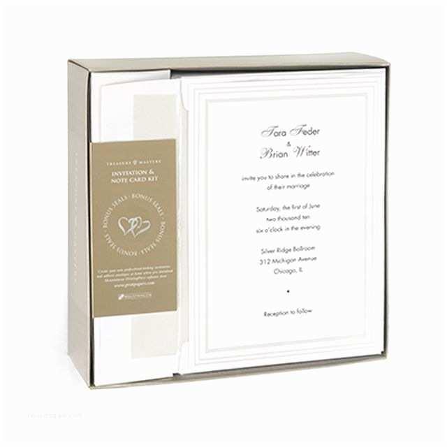 White Wedding Invitation Kit White Pearl Border with Silver Foil Heart Seals Wedding