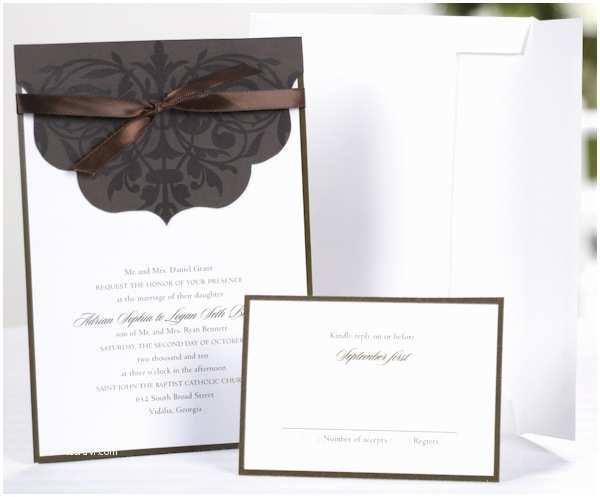 White Wedding Invitation Kit White Wedding Invitation Kit with Chocolate Scalloped Wrap