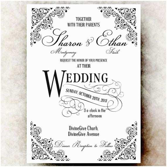 White Wedding Invitations Black and White Wedding Invitation Vintage Wedding