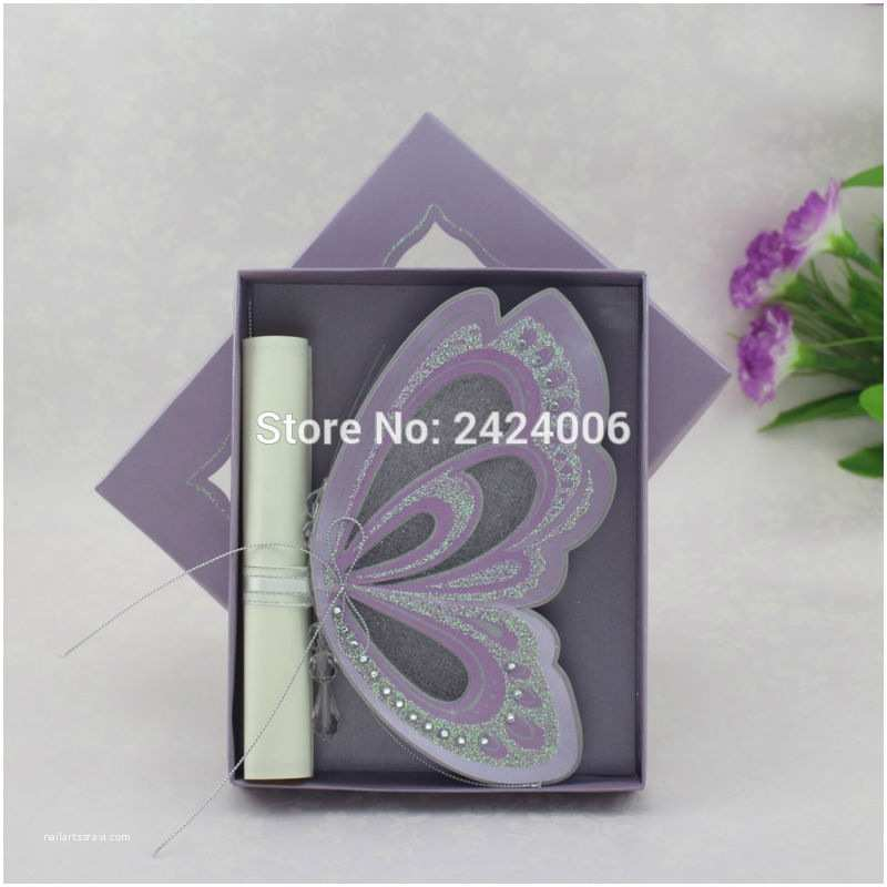 Wholesale Scroll Wedding Invitations 15 Sets Lot wholesale Purple theme Luxury Royal butterfly