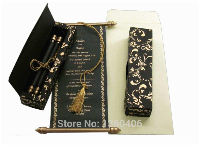 Wholesale Scroll Wedding Invitations Black and Gold Scroll Wedding Invitations Arabic Floral