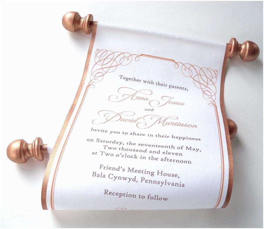 Wholesale Scroll Wedding Invitations Calligraphy Wedding Invitation Bronze Fabric Scroll