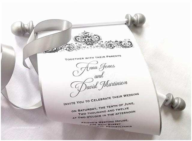 Wholesale Scroll Wedding Invitations Elegant Winter Wedding Invitation Scroll Black and Silver