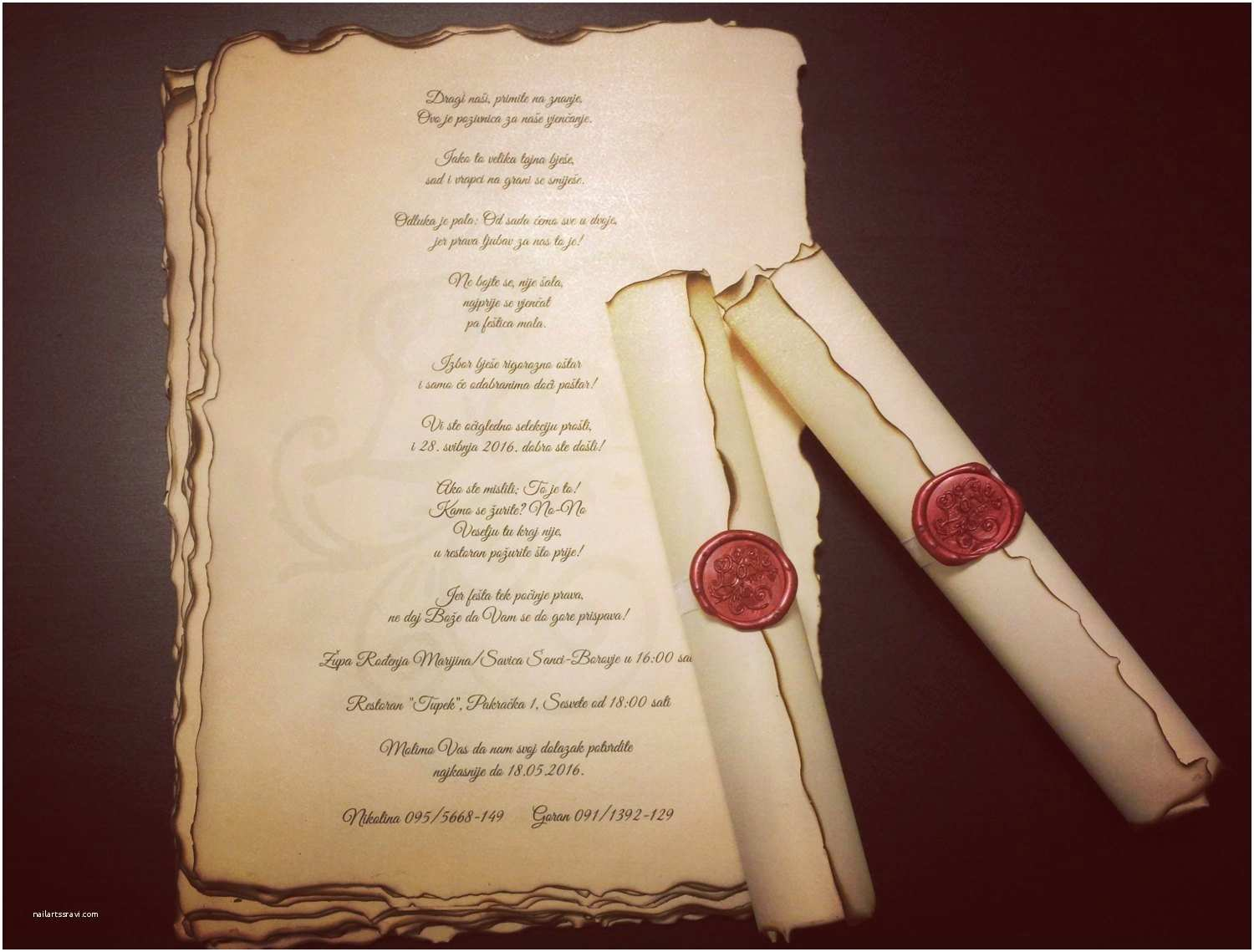 Wholesale Scroll Wedding Invitations Vintage Wedding Scroll Invitation Handmade with Wax Seal