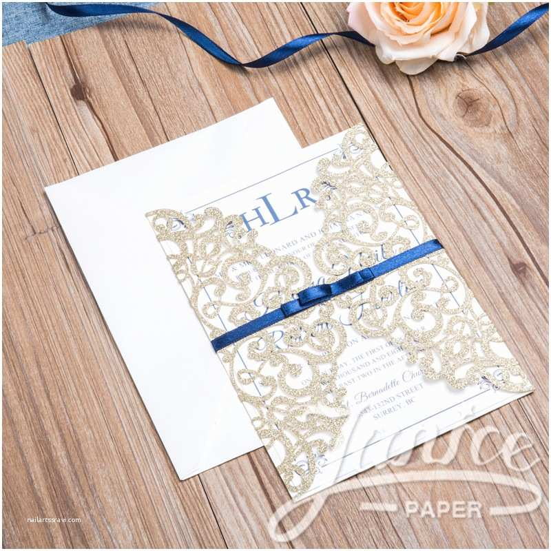 Wholesale Wedding Invitation Albums Classic Lace Glitter Paper wholesale Wedding Invitation
