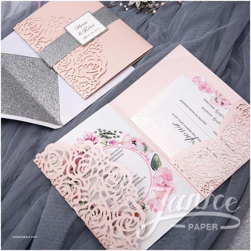 Wholesale Wedding Invitation Albums Rose Design Tri Fold Laser Cut wholesale Wedding