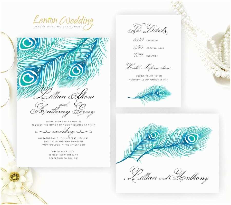 Wholesale Wedding Invitation Kits Blue Peacock Wedding Invitation Kits Printed Shimmer