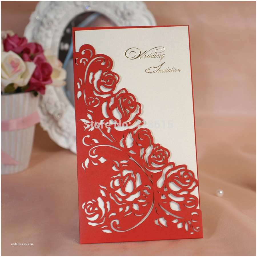 Wholesale Wedding Invitation Kits Red Floral Cutting Out Wedding Invitations Elegant Wedding