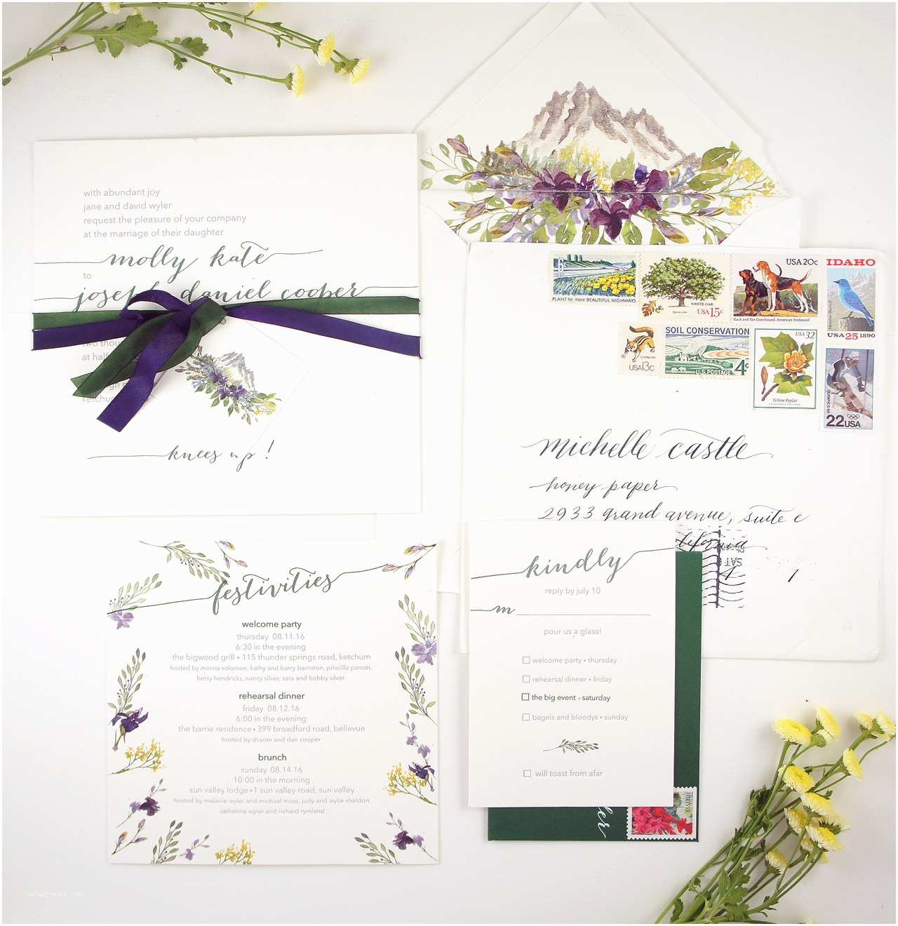 Wildflower Wedding Invitations Illustrated Wildflower Wedding Invitations