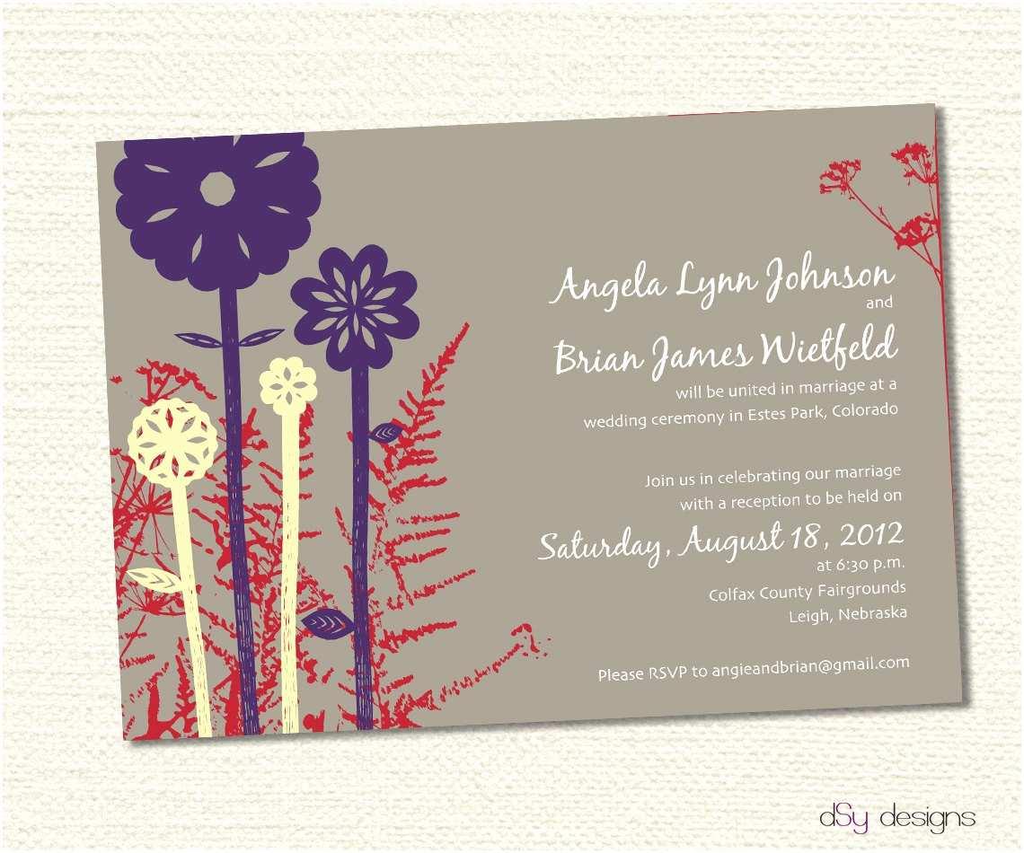 Wildflower Wedding Invitations Items Similar to Rustic Wildflower Tan Wedding Invitation