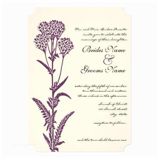 Wildflower Wedding Invitations Purple Wildflower Branch Wedding Invitation