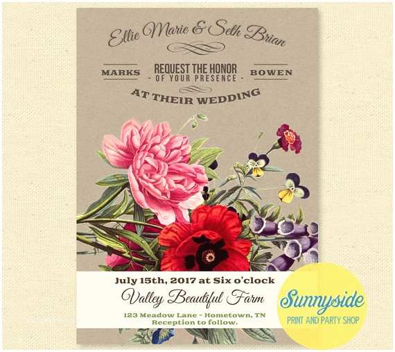 Wildflower Wedding Invitations Wildflower Wedding Invitations Vintage Letterpress Style