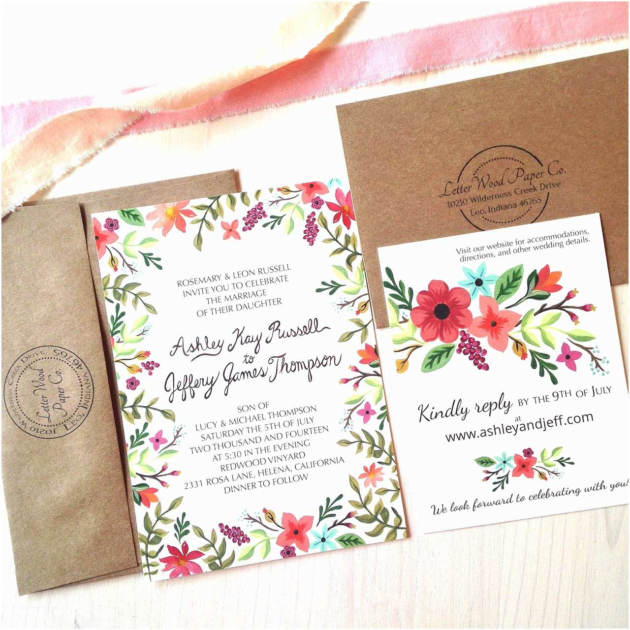wildflowers wedding invitation suite