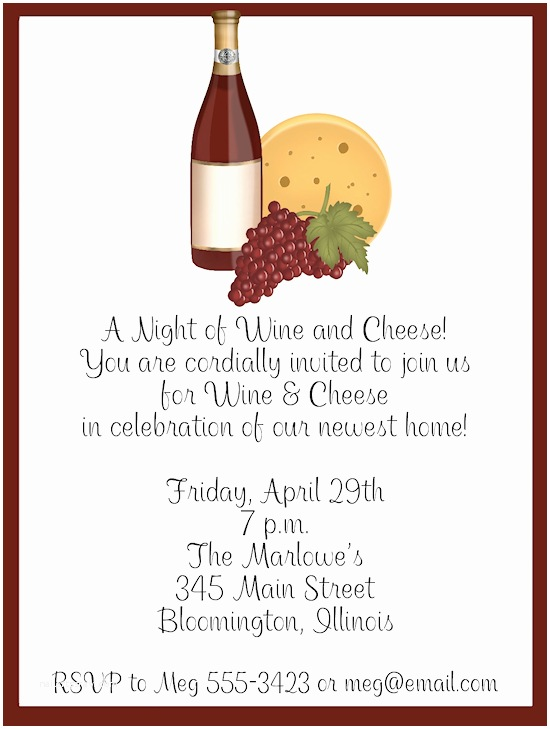 Wine and Cheese Party Invitations Wine and Cheese Night Party Invitations