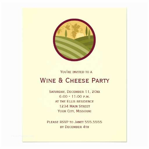 "Wine and Cheese Party Invitations Wine and Cheese Party Invitations 4 25"" X 5 5"" Invitation"