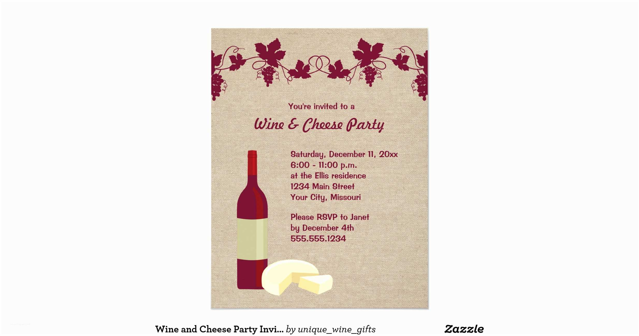 Wine and Cheese Party Invitations Wine and Cheese Party Invitations