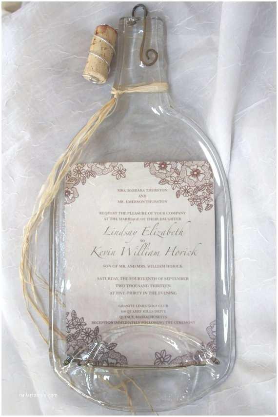 Wine Bottle Wedding Invitations Items Similar to Melted Wine Bottle with Wedding