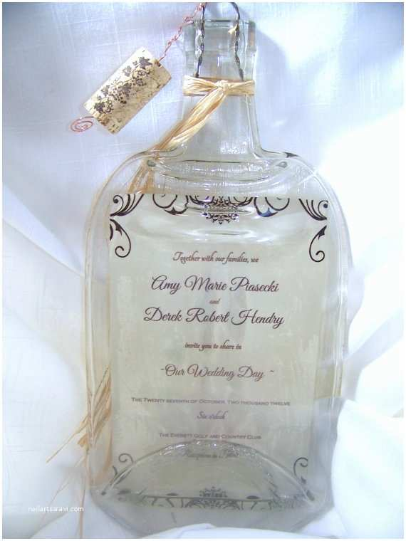 Wine Bottle Wedding Invitations Large Personalized Melted Wine Bottle Wedding