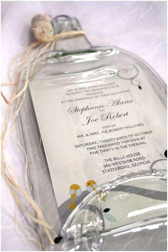 Wine Bottle Wedding Invitations Melted Wine Bottle with Keepsake Wedding by