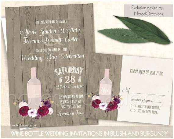 Wine Bottle Wedding Invitations Vineyard Wedding Invitation Rustic Wine Bottle Wedding Suite