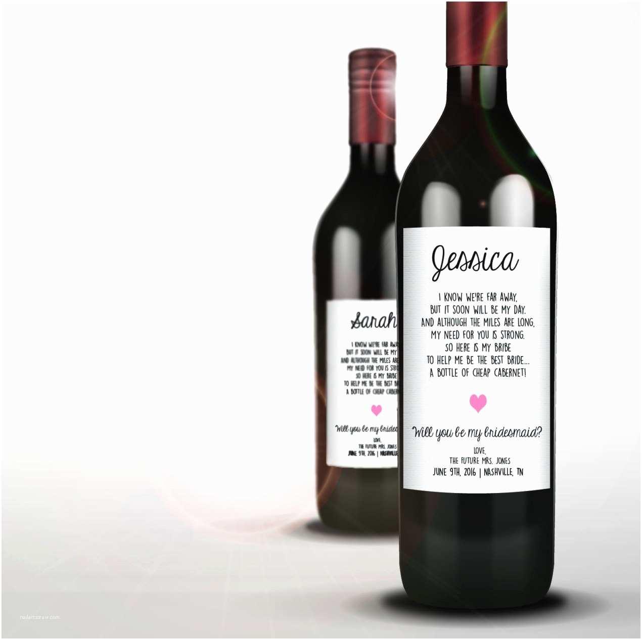 Wine Bottle Wedding Invitations Will You Be My Bridesmaid Wine Bottle Invitation Sticker Long
