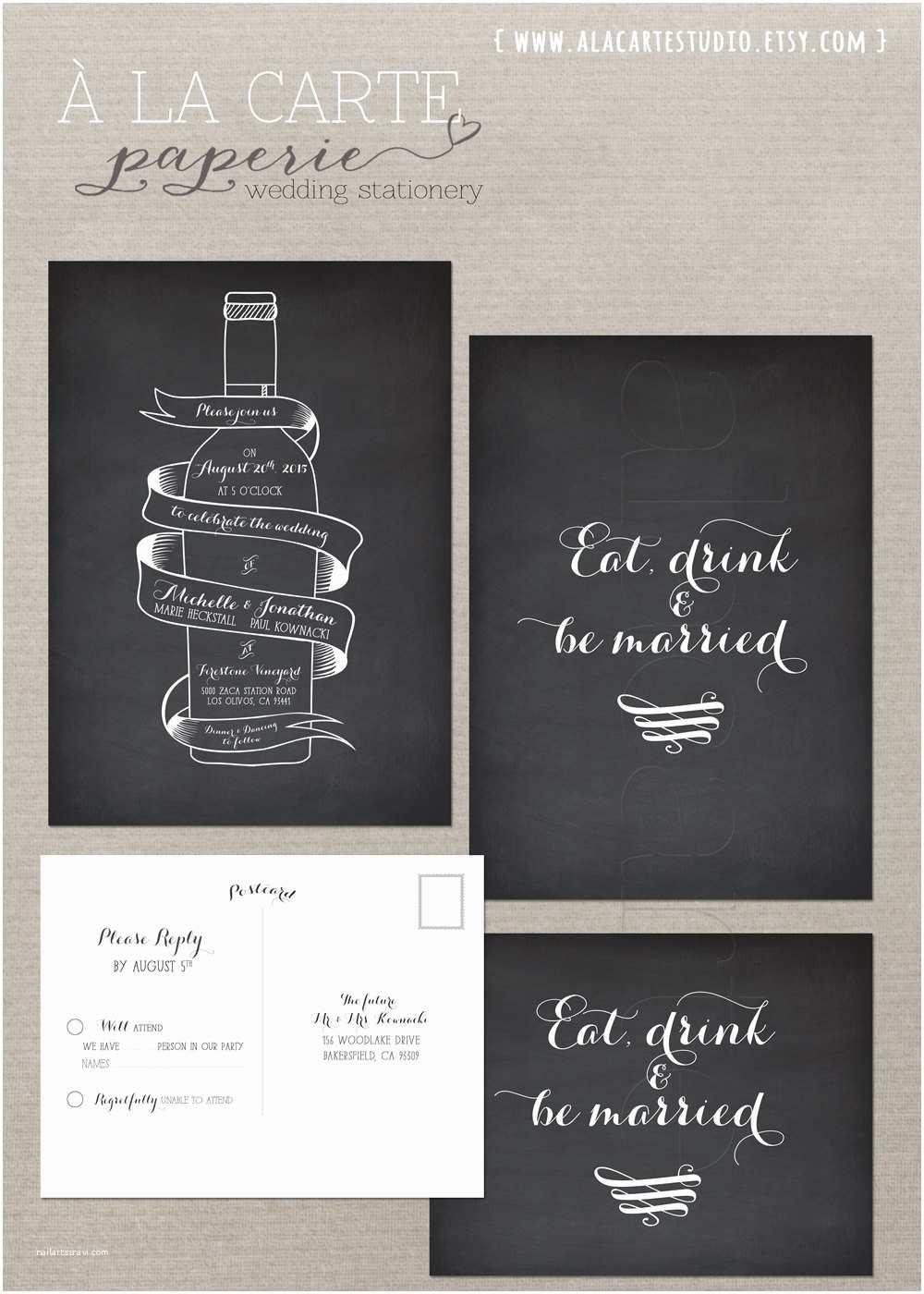 Wine Bottle Wedding Invitations Wine Bottle Chalkboard Inspired Wedding Invitation Card and