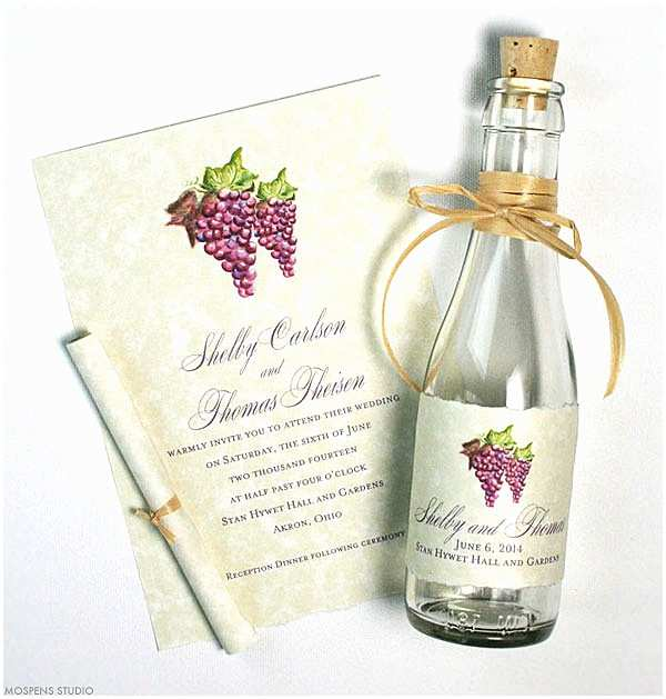 Wine Bottle Wedding Invitations Winery Invitations