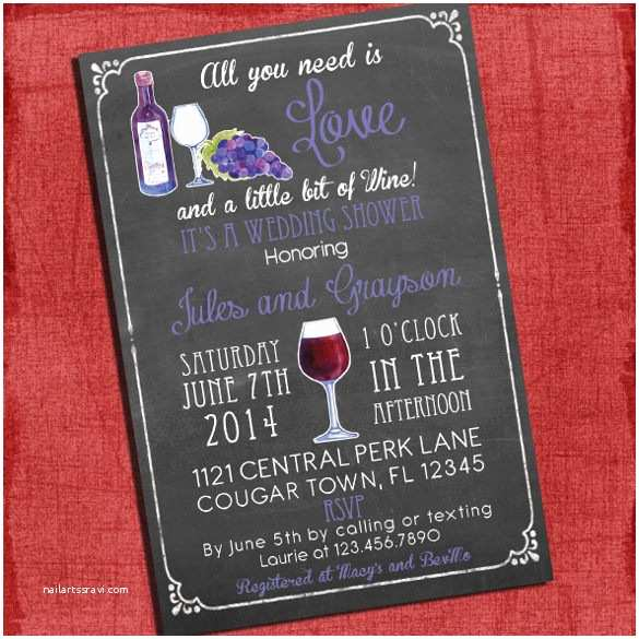 Wine themed Bridal Shower Invitations 26 Wedding Shower Invitation Templates – Free Sample