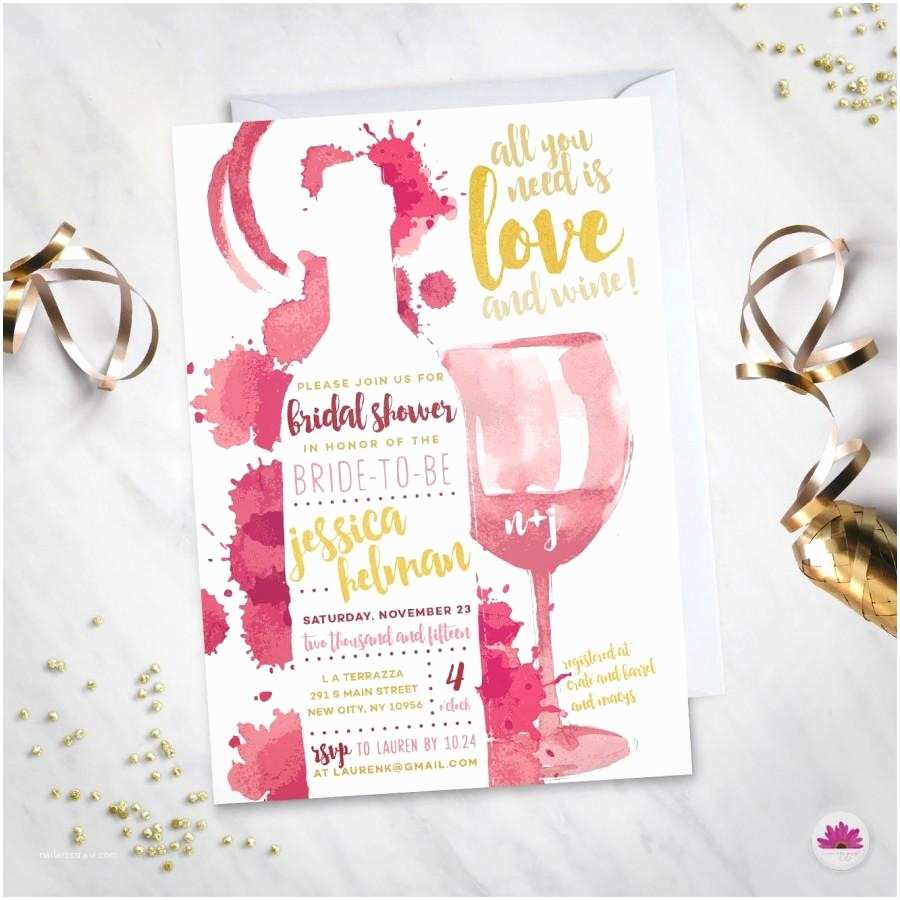 Wine themed Bridal Shower Invitations All You Need is Love & Wine Bridal Shower Invitation