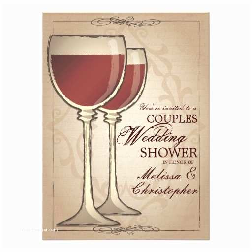 Wine themed Bridal Shower Invitations Elegant Wine themed Couples Wedding Shower 5 5x7 5 Paper