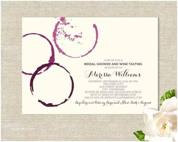 Wine themed Bridal Shower Invitations Wine Glass Stains theme Bridal Shower Invitations Modern