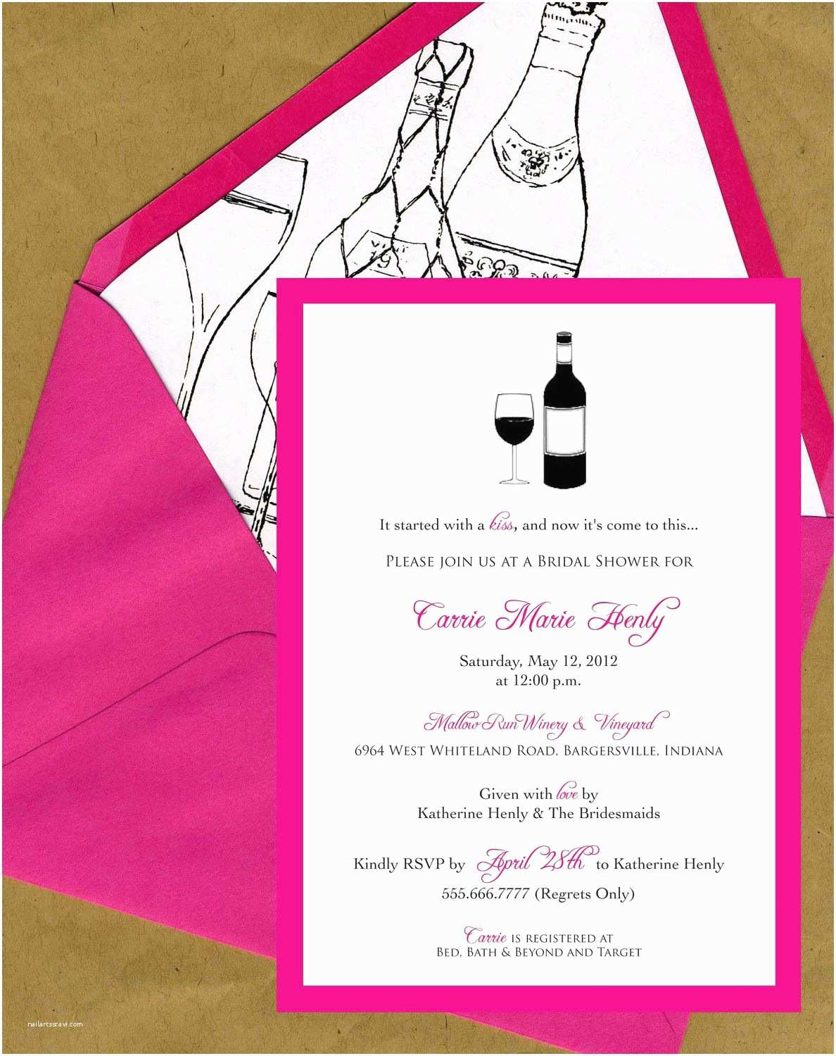 Wine themed Bridal Shower Invitations Wine themed Bridal Shower Invitations Winery themed
