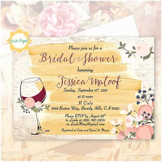 Wine themed Bridal Shower Invitations Wine themed Invitation Bridal Shower Rustic Invite Vineyard