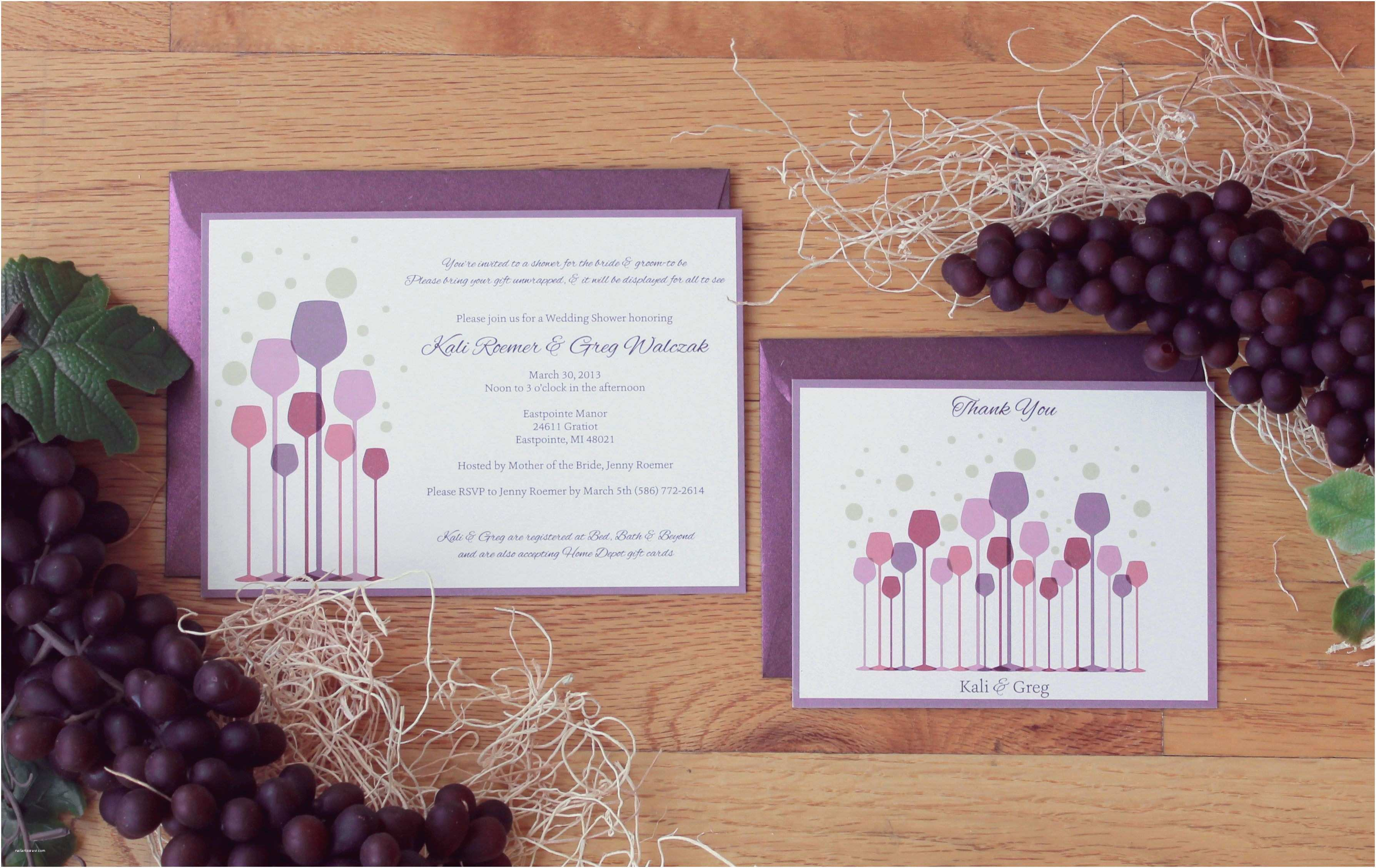 Wine themed Wedding Invitations Bridal Shower Wine themed Bridal Shower Invitations