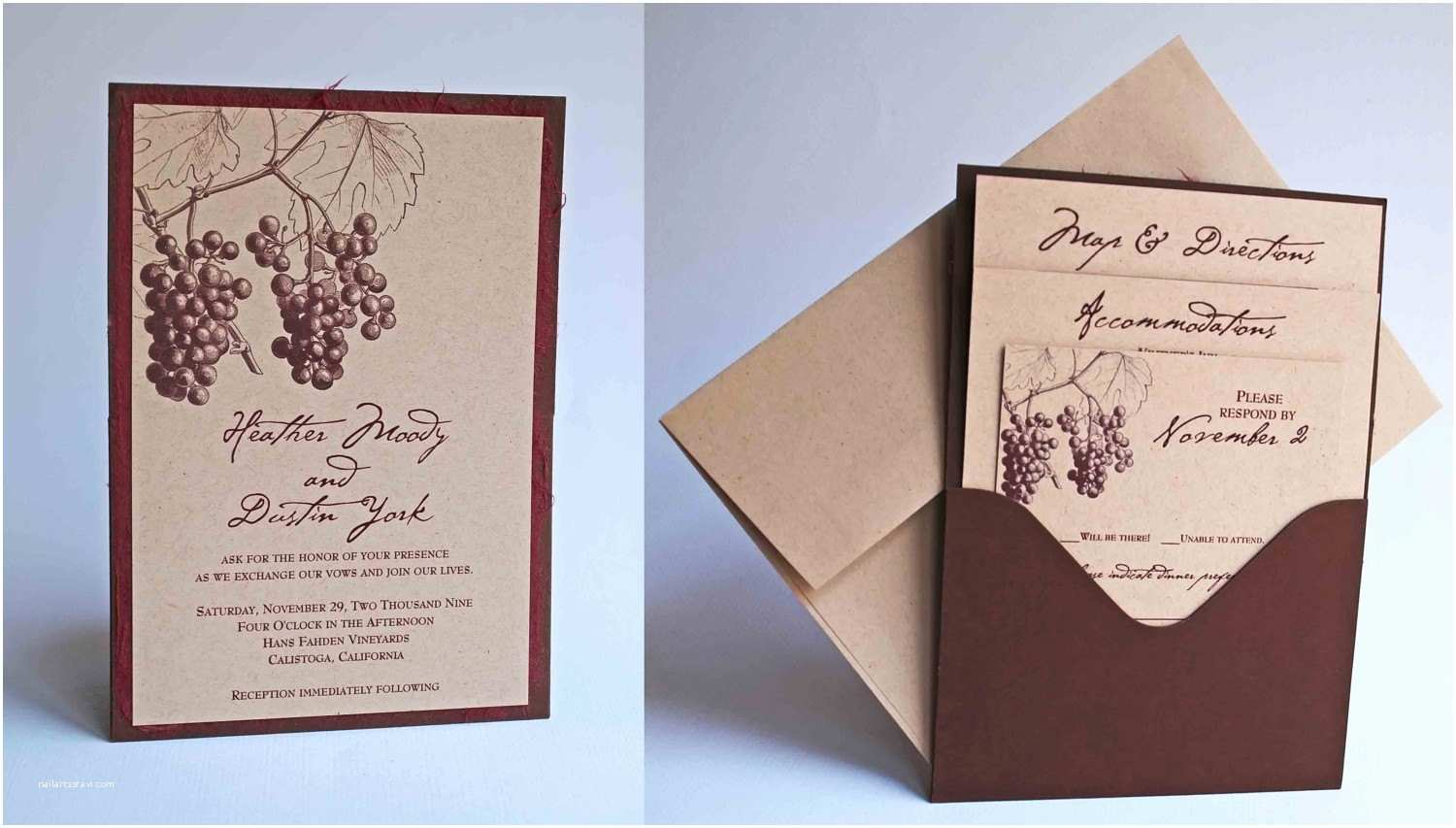 Wine themed Wedding Invitations Custom Fall Grape Vineyard themed Single Pocket Wedding