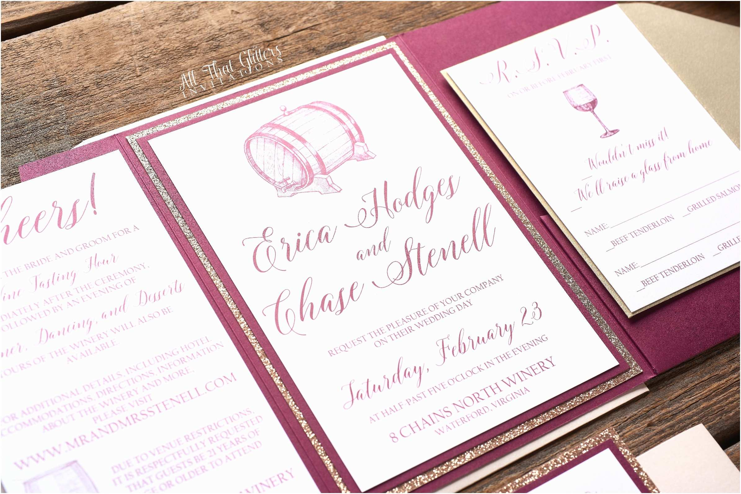 Wine themed Wedding Invitations Erica Wine themed Wedding Invitation