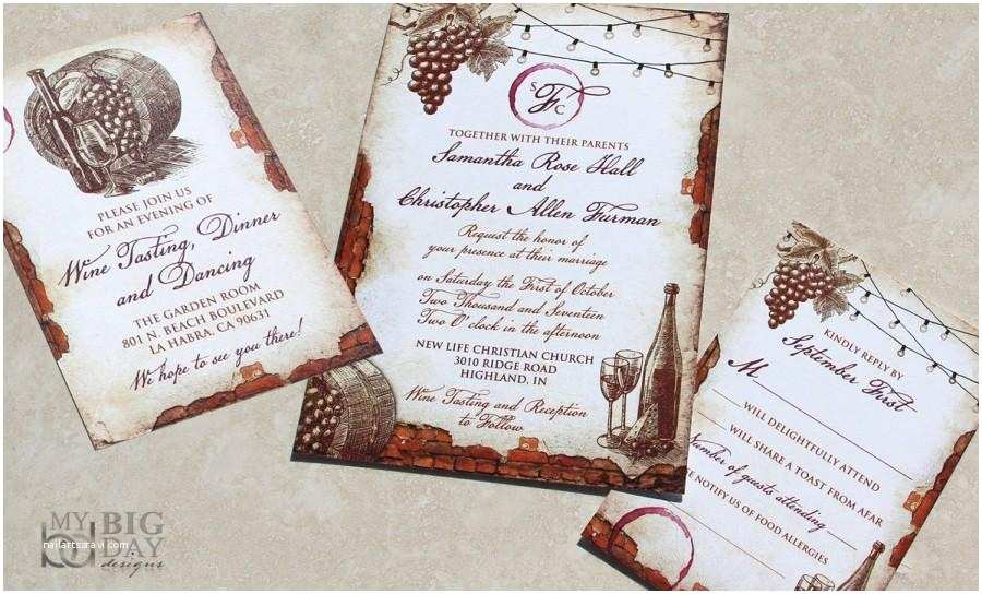 Wine themed Wedding Invitations New for 2017 Vintage Winery Wedding Invitation Set