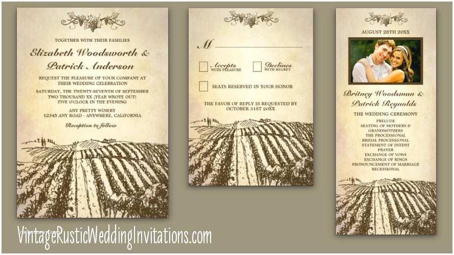 Wine themed Wedding Invitations Vineyard Wedding Invitations Vintage Rustic Wedding