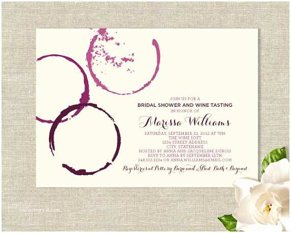 Wine themed Wedding Invitations Wine Glass Stains theme Bridal Shower Invitations by