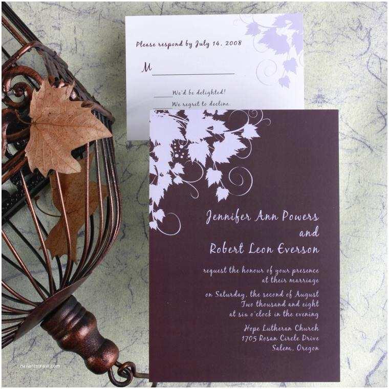 Winery Wedding Invitations Cheap Classic Plum Winery Wedding Invitations Ewi015 as