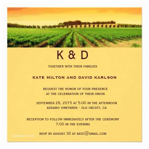 "Winery Wedding Invitations Vineyard Sunset Winery Wedding Invitation 5 25"" Square"