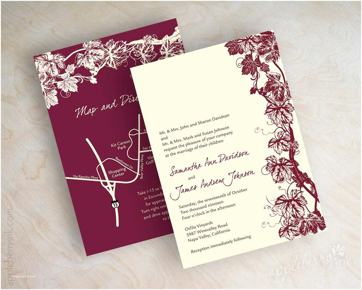 vineyard wedding invitation grape vine