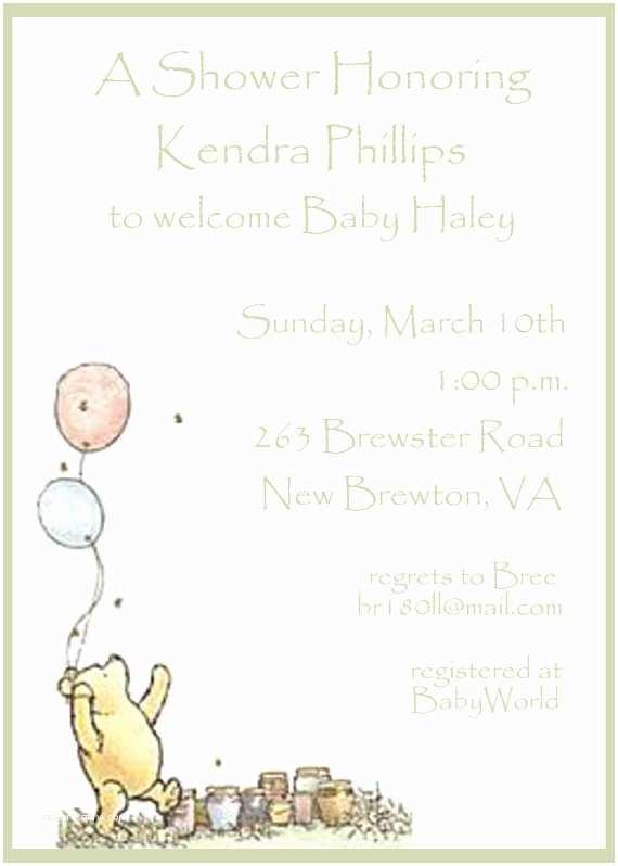 Winnie the Pooh Baby Shower Invitations Classic Winnie the Pooh Baby Shower Invitations