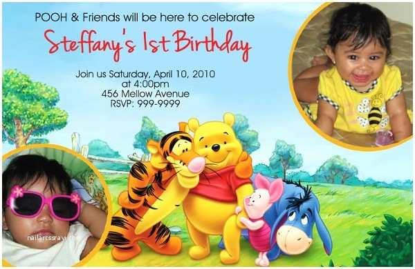 Winnie the Pooh Birthday Invitations Free Printable Winnie the Pooh Invitations for 1st