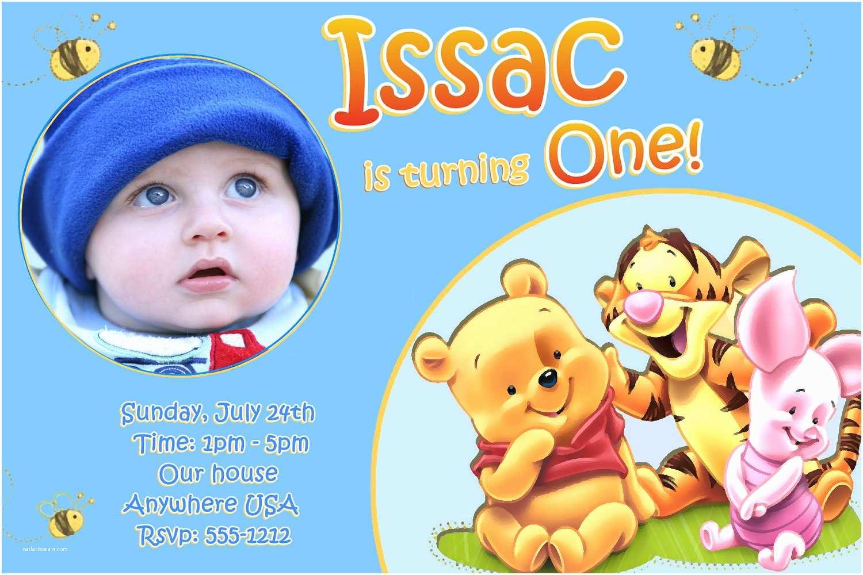Winnie the Pooh Birthday Invitations Winnie the Pooh 1st Birthday Invitations by Createphotocards4u