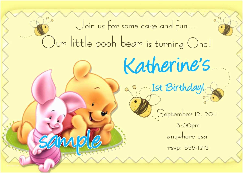 Winnie the Pooh Birthday Invitations Winnie the Pooh 1st Birthday Invitations Printable