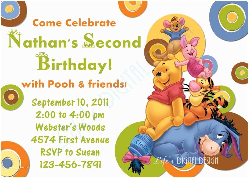 Winnie the Pooh Birthday Invitations Winnie the Pooh Birthday Invitation Green Dots Customizable