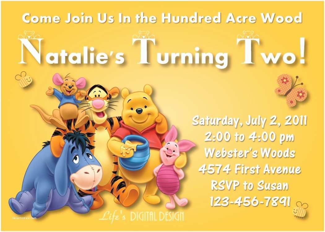 Winnie the Pooh Birthday Invitations Winnie the Pooh Invitation Birthday Yellow Customizable