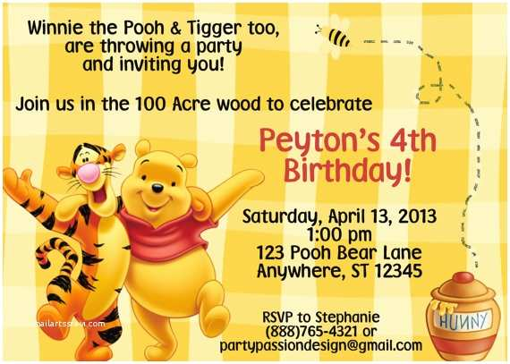 Winnie the Pooh Birthday Invitations Winnie the Pooh Invitation by Partypassiondesign On Etsy